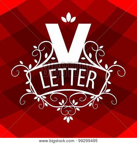 Ornate Letter V Vector Logo On A Red Background