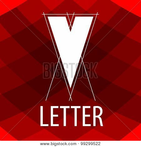Vector Logo The Letter V In The Form Of A Drawing
