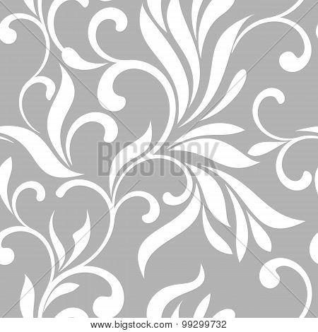 Seamless Pattern With White Swirls On A Gray Background