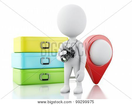 3D White People Tourist With Suitcases And A Airplane. Travel Concept