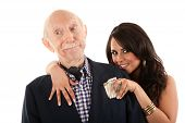 picture of snob  - Rich elderly man with Hispanic gold - JPG