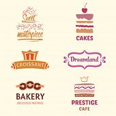 Постер, плакат: Set of patterns vector logos cakes Logo confectionery coffee s