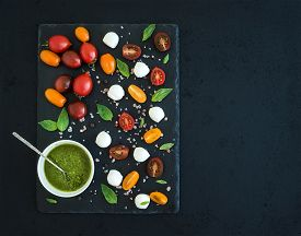stock photo of black-cherry  - Caprese set - JPG