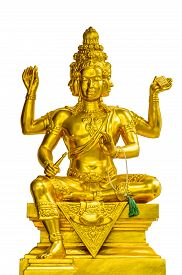 picture of brahma  - Golden statue of Brahma isolated on white background - JPG