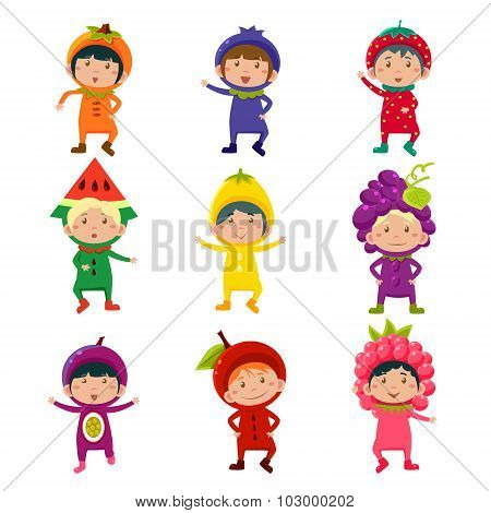 Cute Kids in Fruit and Berry Costumes Vector Illustration