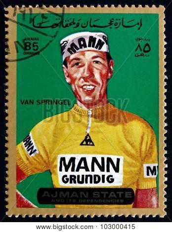 AJMAN - CIRCA 1972: a stamp printed in the Ajman shows Herman van Springel, is a Belgian Former Road Racing Cyclist, circa 1972