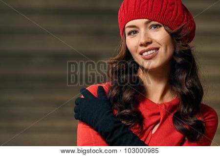 calm smiling woman on stairs