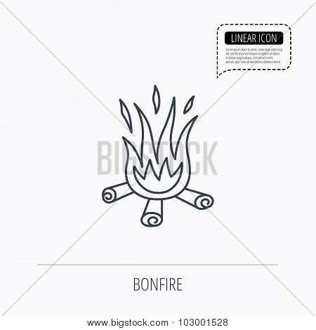 Bonfire icon. Fire sign.