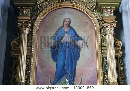 ZAGREB, CROATIA - MAY 28: Virgin Mary altarpiece in the Basilica of the Sacred Heart of Jesus in Zagreb, Croatia on May 28, 2015