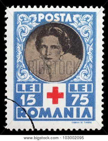ROMANIA - CIRCA 1945: a stamp printed in Romania shows Queen Helene for Red Cross, circa 1945.