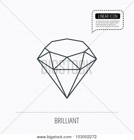 Brilliant icon. Diamond gemstone sign.