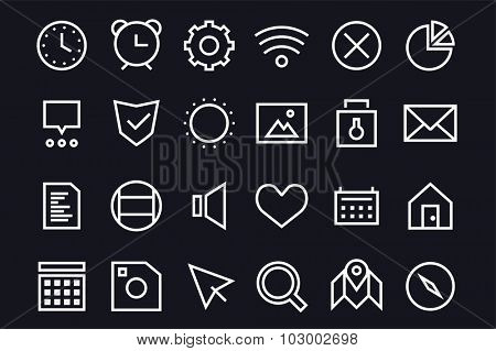 Outline vector UI user interface technology black and white icons set. Web net vector ui hud gui user interface icons for web and mobile app. Application, web interface, GUI interface, UI interface