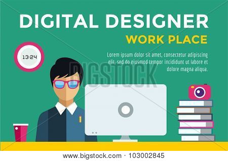 Designer at workplace vector silhouette. Designer boy work infographic. People at work. Creative office life. People in action. Computer, table, books, clock, coffee cup. Digital designer silhouette
