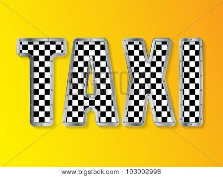Abstract Taxi Advertising With Metallic Framed Text