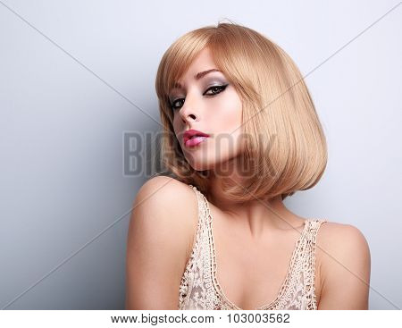 Beautiful Glamour Makeup Blond Woman With Short Hair Style Posing Sexy