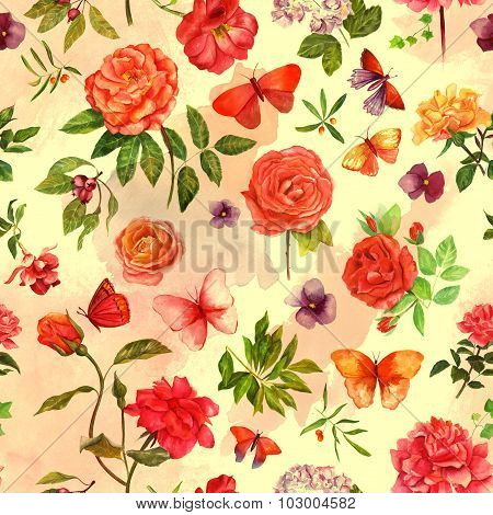 Vintage style seamless background pattern with watercolour flowers and butterflies