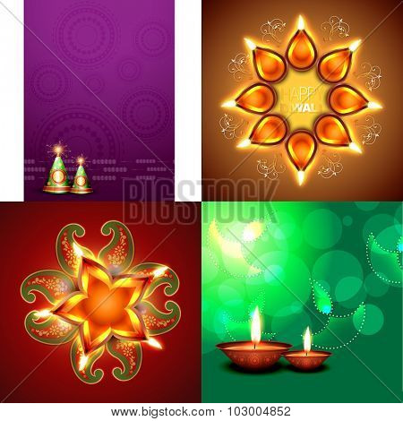 vector set of happy diwali background with crackers and decorated diya placed on rangoli illustration