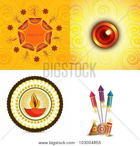 vector set of diwali background  with crackers and diya illustration