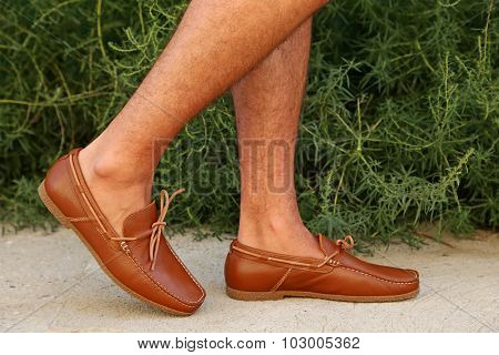 Fashion Leather And Brown Moccasins Shoes