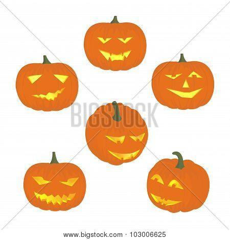 Set cheerful  funny and angry pumpkins at Halloween.