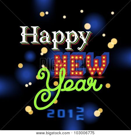 Happy New Year invitation. Elegant lettering. vector illustration