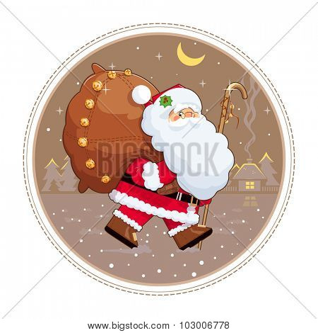 Santa Claus with gift sack . Eps10 vector illustration. Isolated on white background