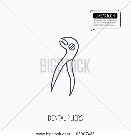 Dental pliers icon. Stomatological forceps tool.