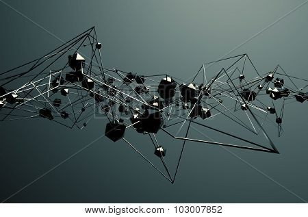Abstract 3D Rendering of Chaotic Metal Structure.