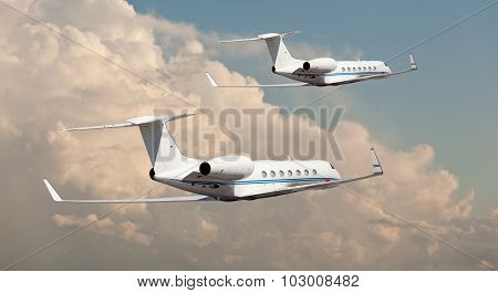 Two private jets flying side by side