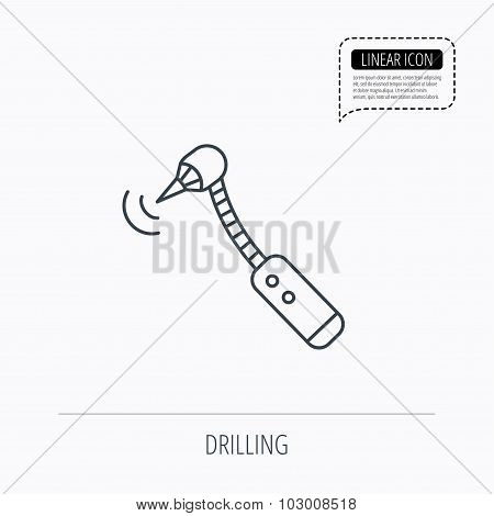 Drilling tool icon. Dental oral bur sign.