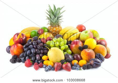 Collection of different fruits isolated on white background
