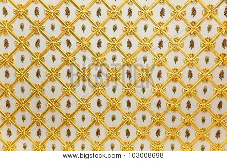Old Golden Pattern - geometric and flowers decoration on white - more than 200 years old