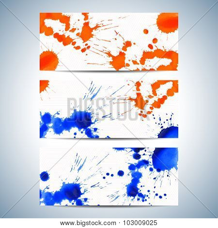 Set of watercolor horizontal backgrounds. Modern business presentation design with place for your te