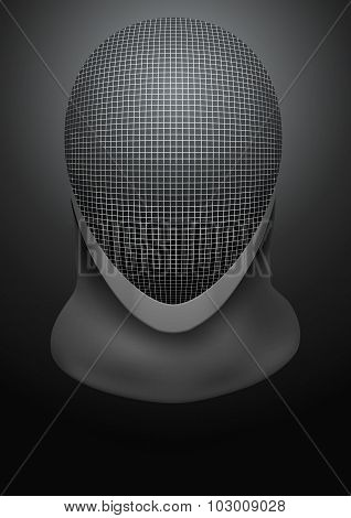 Dark Background of fencing helmet. Vector Illustration.