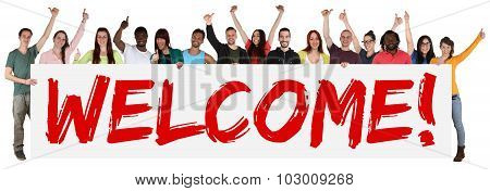Welcome Sign Group Of Young Multi Ethnic People Holding Banner