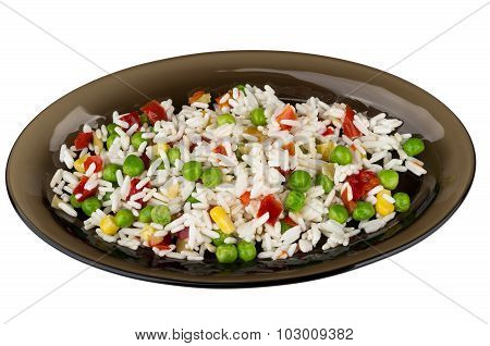 Vegetable Mix In Black Dish Isolated On White