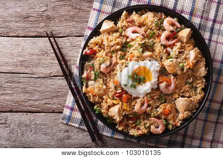 Nasi Goreng With Chicken, Prawns, Egg And Vegetables Horizontal Top View
