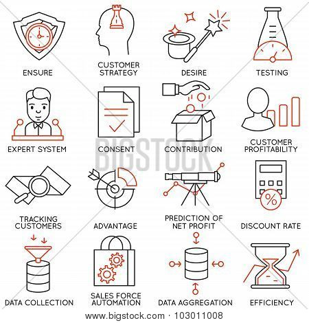 Vector Set Of 16 Icons Related To Business Management - part 17
