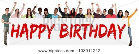 Happy Birthday Group Of Young Multi Ethnic People Holding Banner