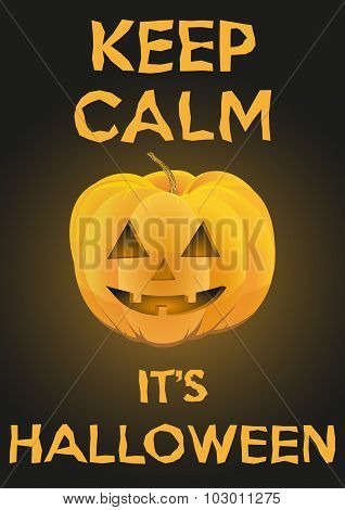 Background Keep Calm with Pumpkin for Halloween.