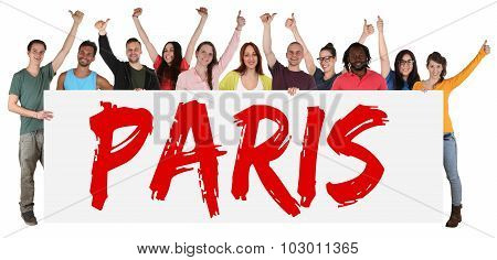 Paris Group Of Young Multi Ethnic People Holding Banner