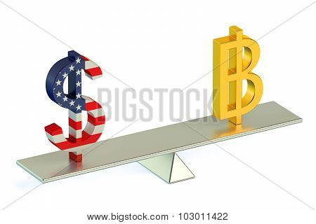 Dollar Or Bitcoin , Usd/btc Currency Pair Concept