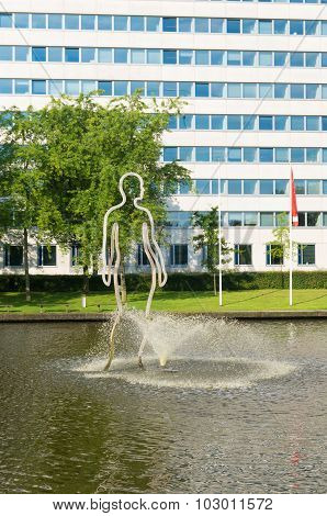GRONINGEN NETHERLANDS - AUGUST 22 2015: Modern sculpture on the groningen university campus. The university counts around 30000 students and is one of the oldest of the country