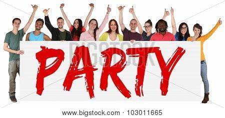 Party People Group Young Multi Ethnic Holding Banner