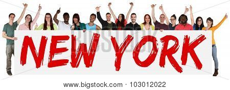 New York Group Of Young Multi Ethnic People Holding Banner
