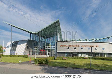 GRONINGEN NETHERLANDS - AUGUST 22 2015: Willem-Alexander sports center exterior of the groningen university.