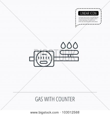 Gas counter icon. Pipe with fire sign.
