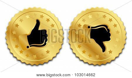 Golden Rating Signs On White Background