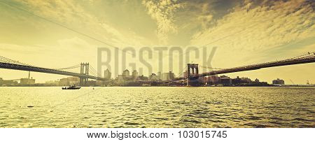 Old Film Retro Style New York Waterfront View, Usa.