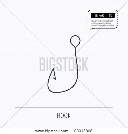 Fishing hook icon. Fisherman equipment sign.